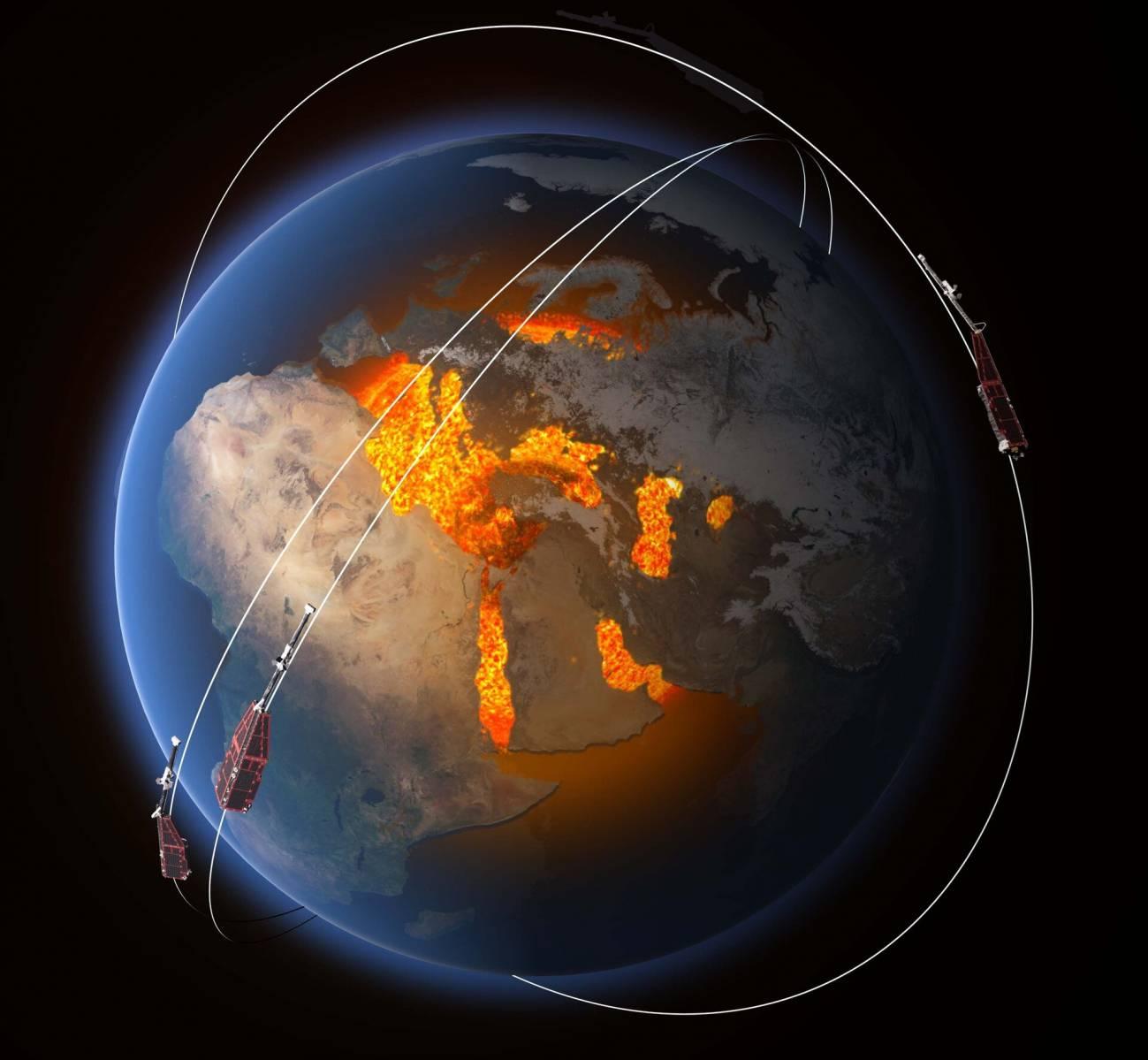 Swarm constellation pillars - Campo magnético terrestre se está debilitando desde Sudamérica hasta África, una zona anómala que podría fragmentarse en dos