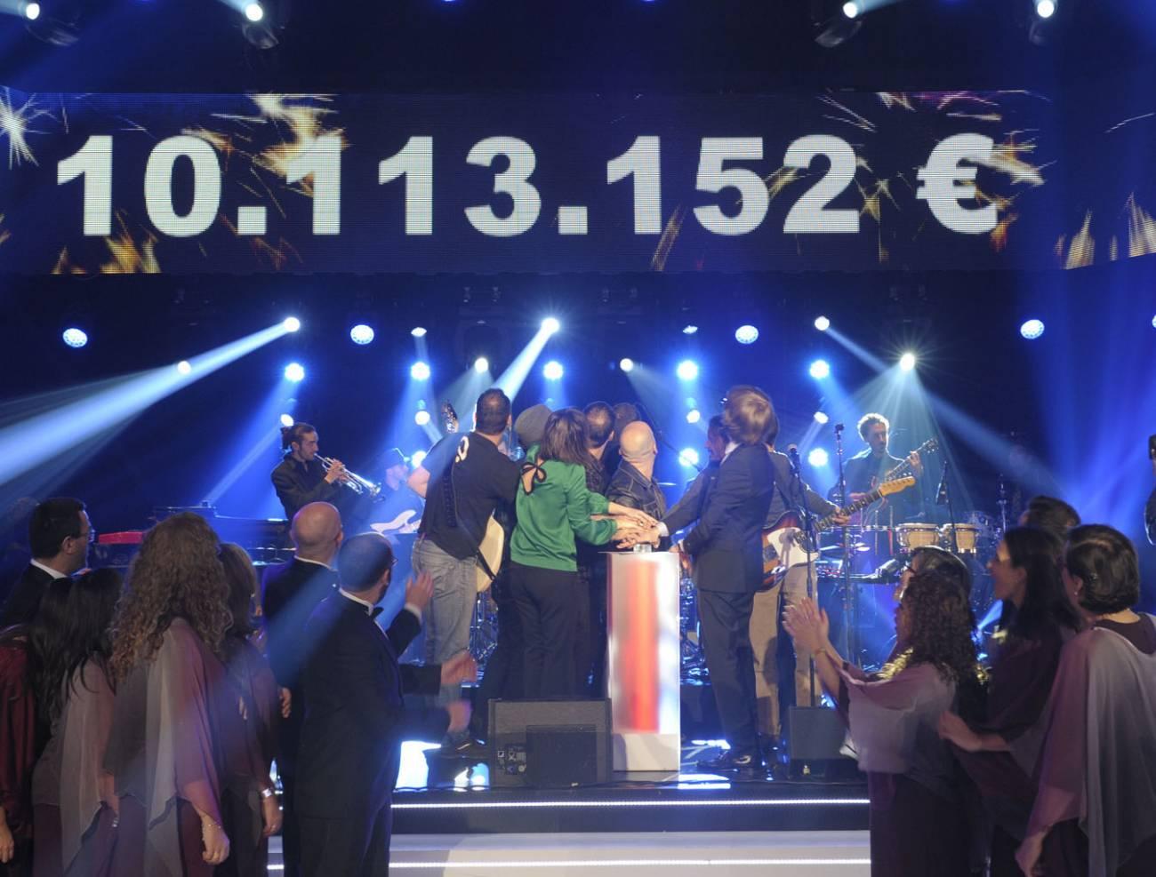 Momento en el que finalizaba ayer la  'La Marató' de TV3. Imagen: TV3