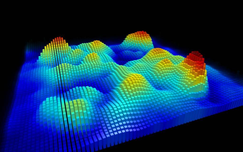 Representación en 3D de una única molécula de naphthalocyanine realizada con microscopía de fuerzas de sonda Kelvin. / IBM