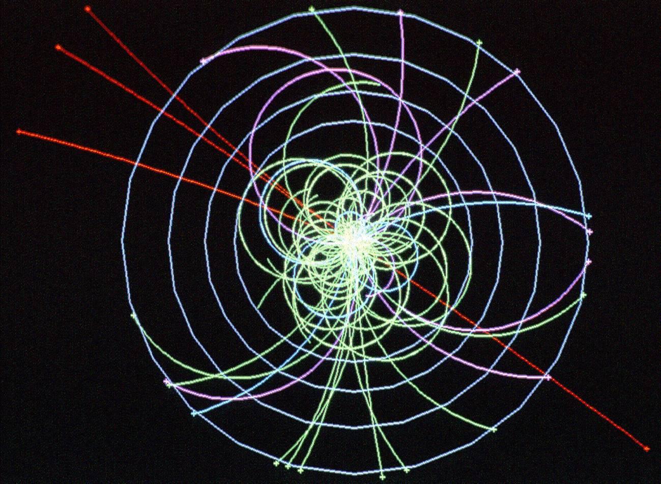 Mecanismo de higgs simulado con la colisión de cuatro muones. Imagen CERN