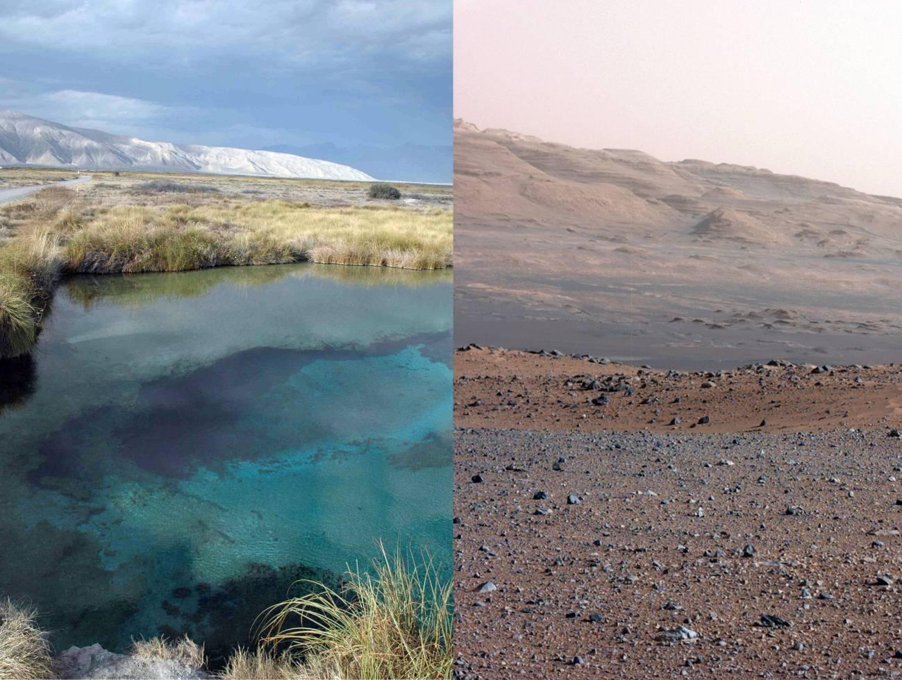 A la izquierda, Cuatro Ciénagas y a la derecha la zona por donde explora el Curiosity. Imagen: Luis Eguiarte / NASA