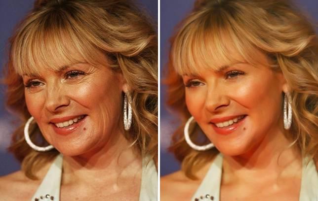La actriz Kim Cattrall antes y después de un retoque fotográfico