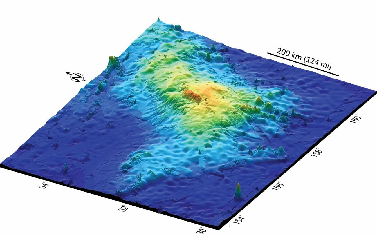 Representación del volcán submarino Tamu Massif. / Universidad de Houston