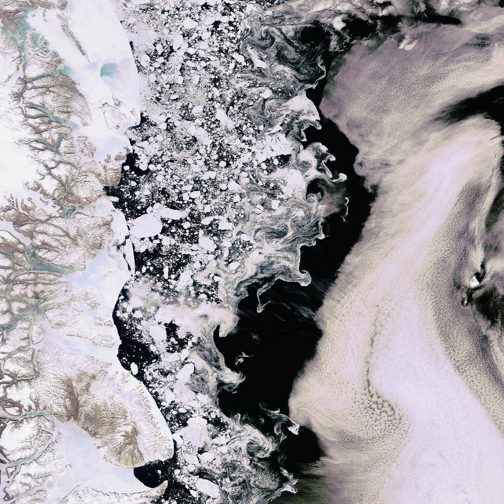 Imagen de satélite del océano Ártico. Imagen: ESA