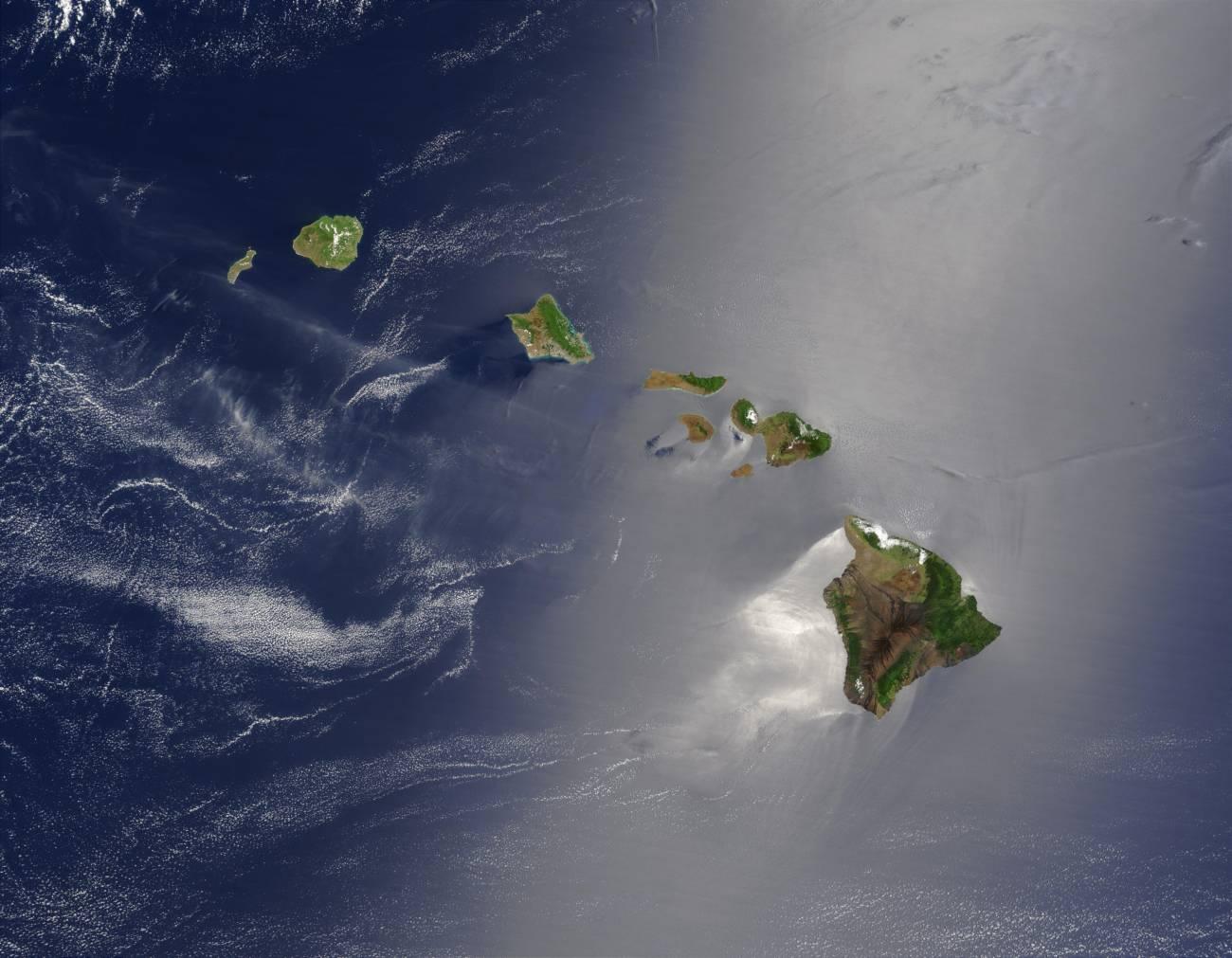 Vista de satélite del archipiélago de Hawaii, que ha sido tomado como modelo para el proyecto. Imagen: NASA