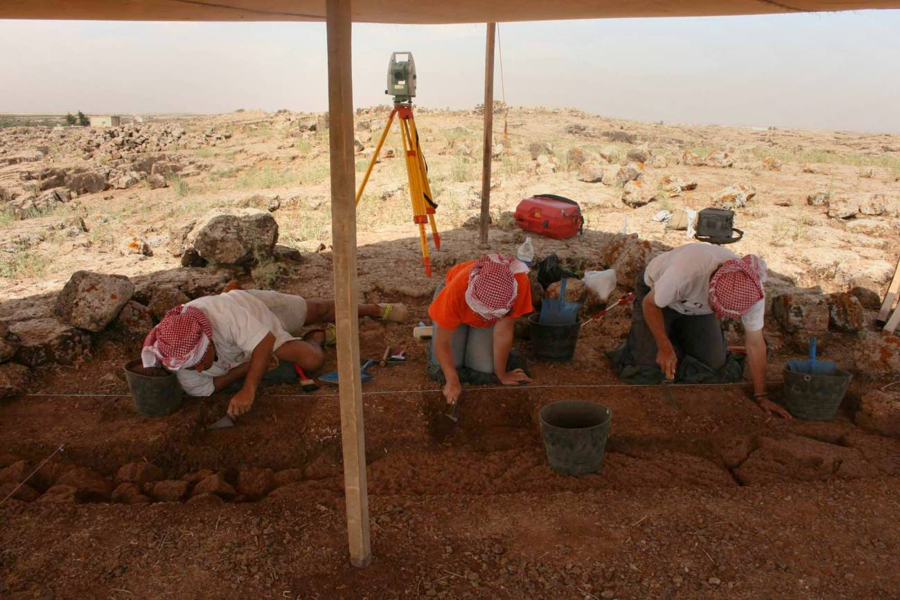 Trabajos de excavación en Qarassa3 (Sweida, sur de Siria), el poblado de hace 13.000 años de los últimos cazadores-recolectores. Imagen: CSIC.
