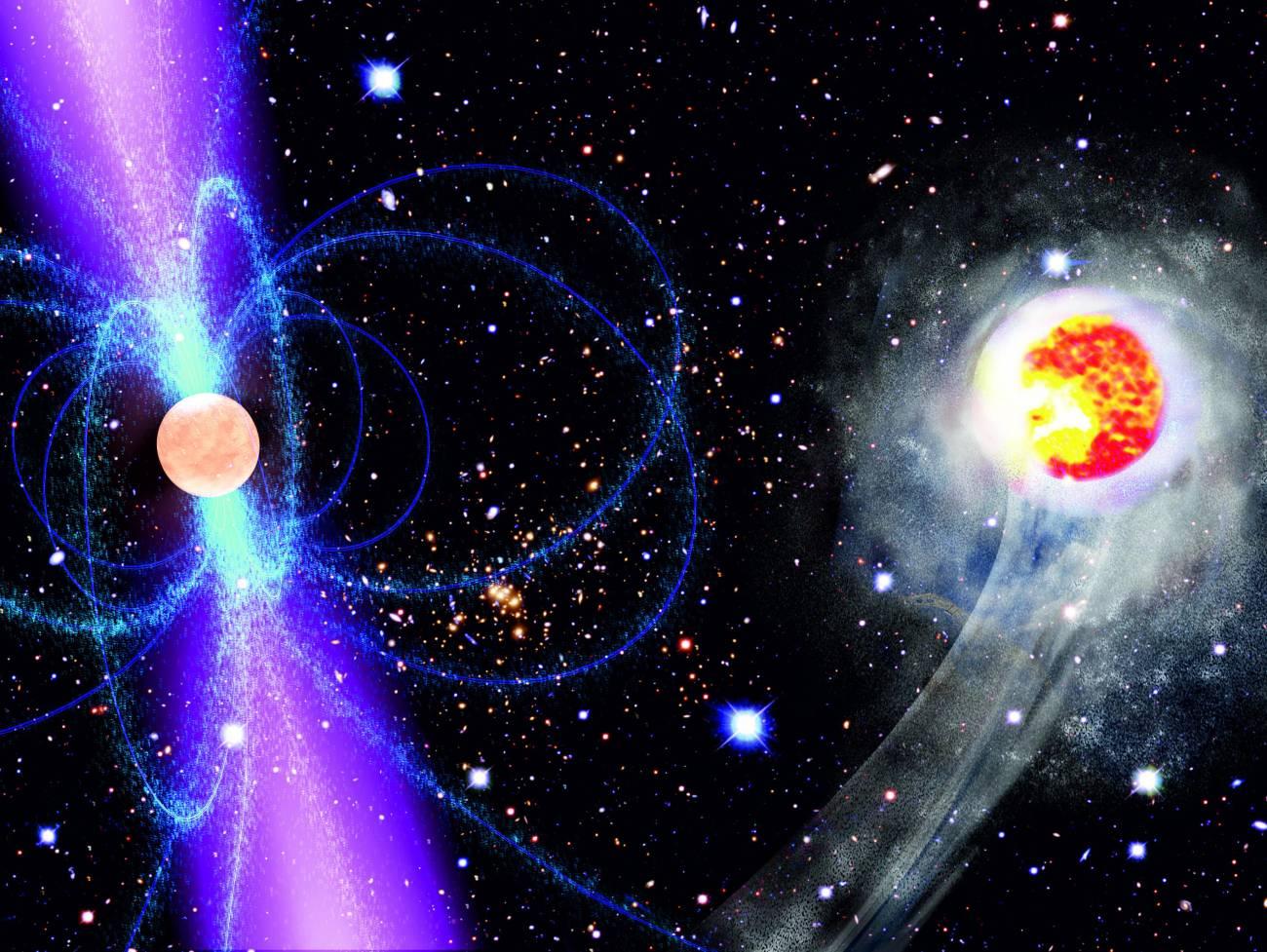 Esta impresión artística muestra cómo la energía de radiación gamma emitida por el pulsar calienta y evapora su estrella acompañante. Imagen: NASA/ESA