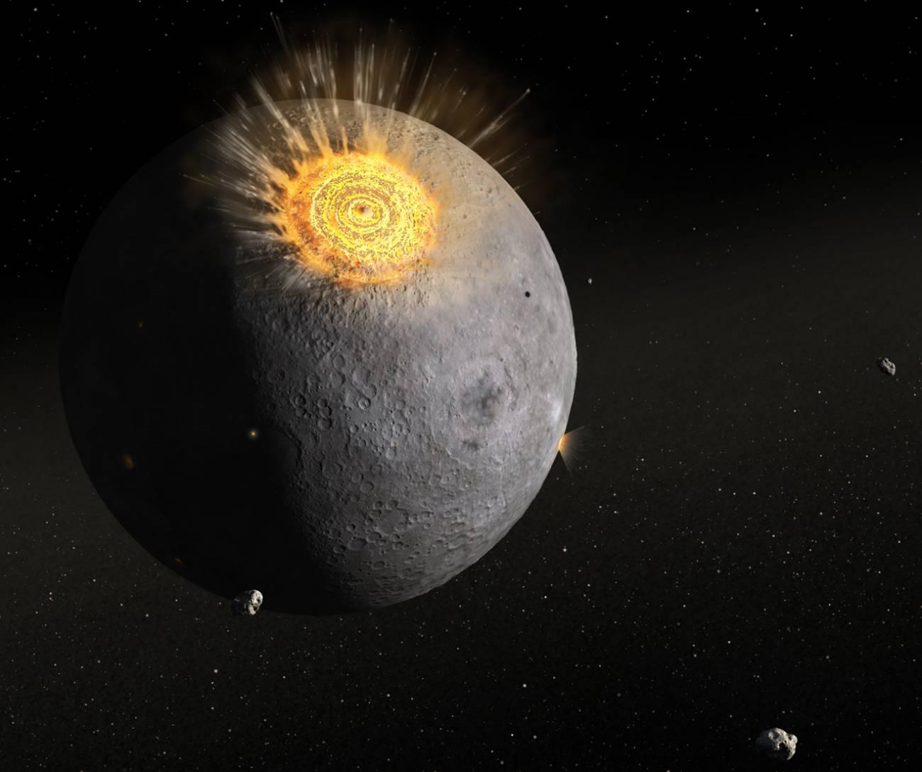 Ilustración de cómo un asteroide impacta contra la luna. Imagen: Dan Durda / FIAAA