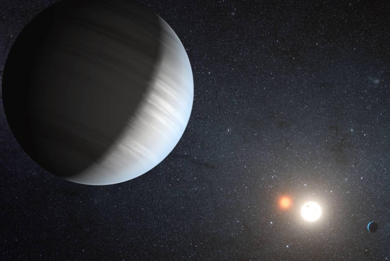 Representación artística del sistema Kepler-47. Imagen: NASA.