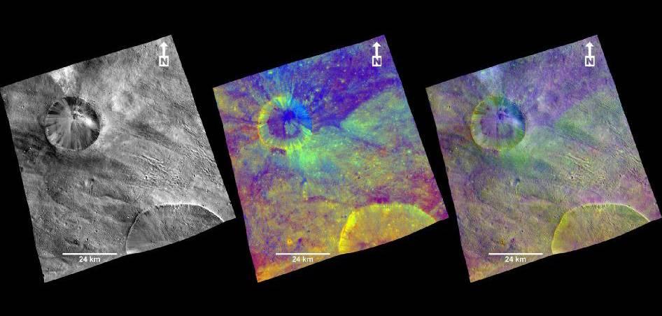 Imágenes compuestas de un cráter de Vesta facilitadas por la sonda 'Dawn'. Imagen: NASA et al.