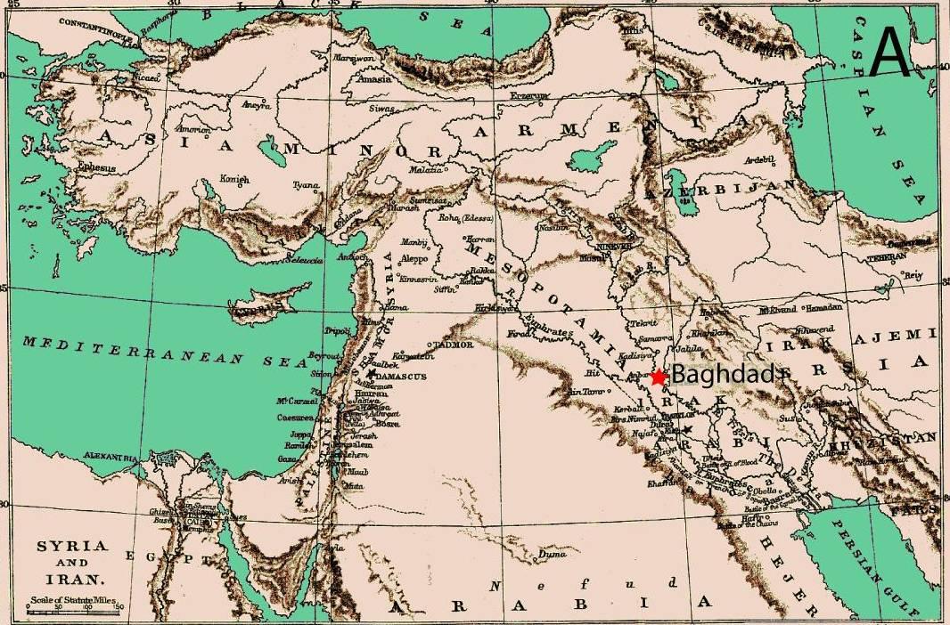 Bagdad (Iraq) se convirtió en la ciudad más próspera de su tiempo y en el centro del comercio internacional y el desarrollo agrícola en el siglo VIII. Imagen: Domínguez-Castro et al.