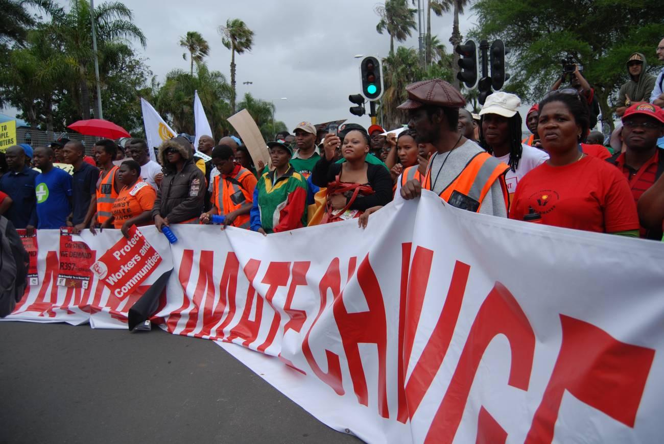 Cabecera de la manifestación en Durban