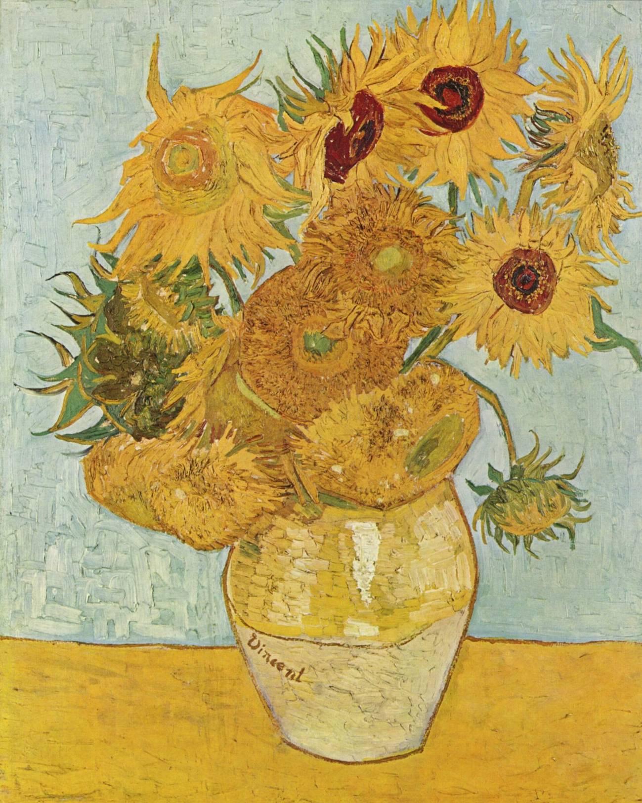 """Jarrón con quince girasoles"" de Vincent van Gogh. Imagen:Wikipedia"