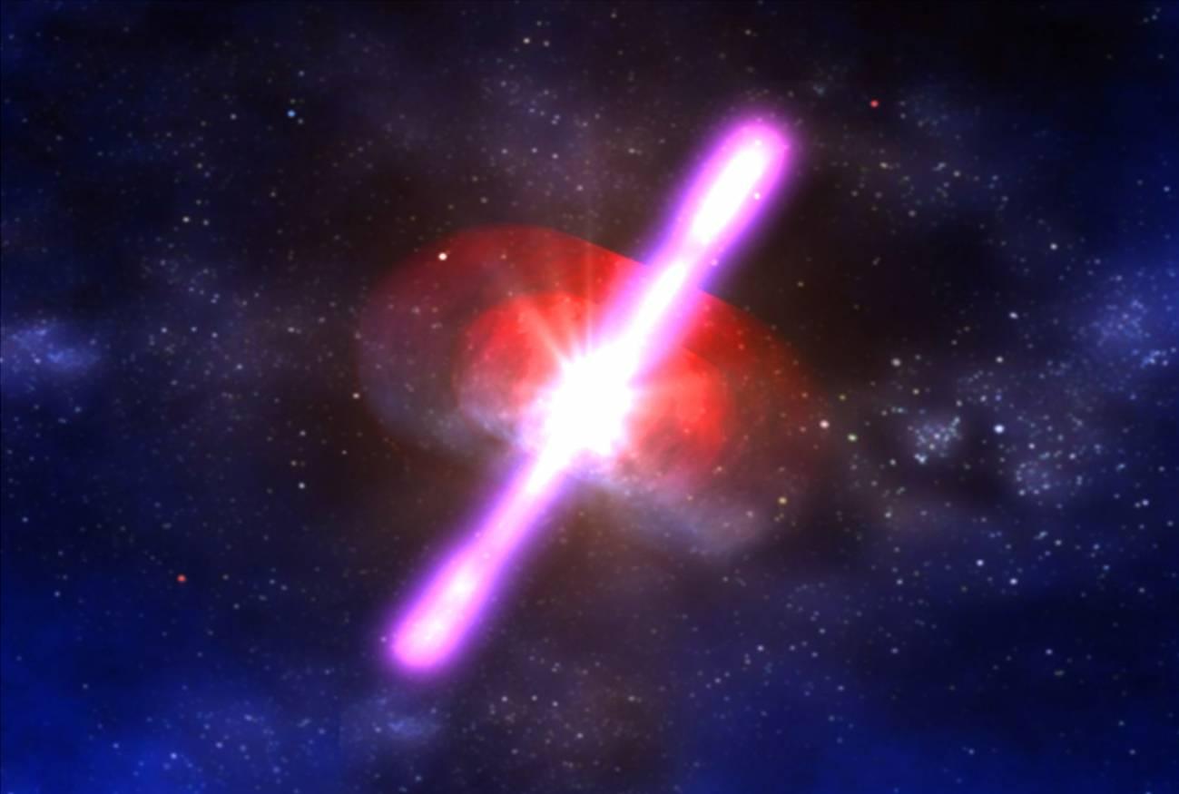 Ilustración de un estallido de rayos gamma. Imagen: NASA / D.Berry