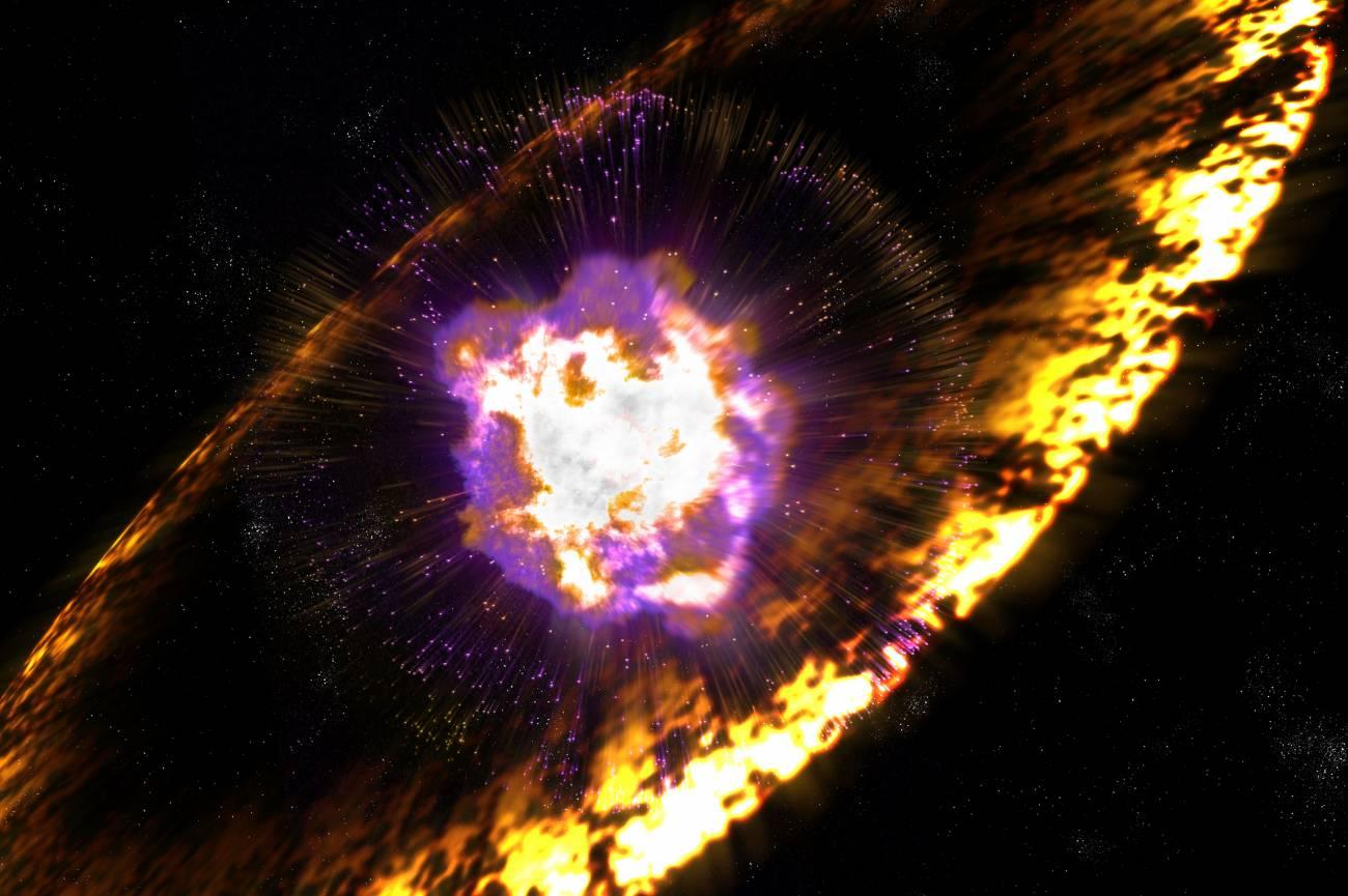 Cuando las estrellas explotan, las supernovas envían ondas de choque que aceleran los protones hasta crear rayos cósmicos a través de un proceso conocido como aceleración de Fermi. / Greg Stewart. National Accelerator Laboratory.