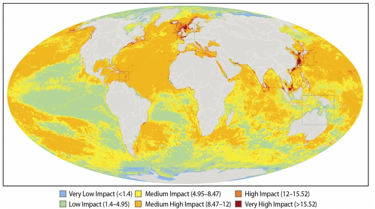 mapa del impacto humano en ecosistemas marinos