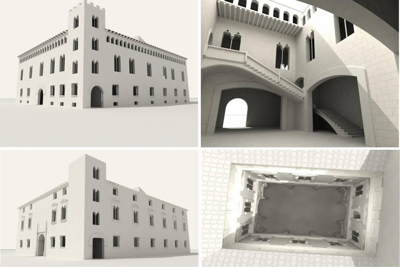 El palacio gótico (arriba) del Embajador Vich en Valencia se transformó en otro renacentista (abajo). El patio también cambió de estilo. / Mercedes Galiana.