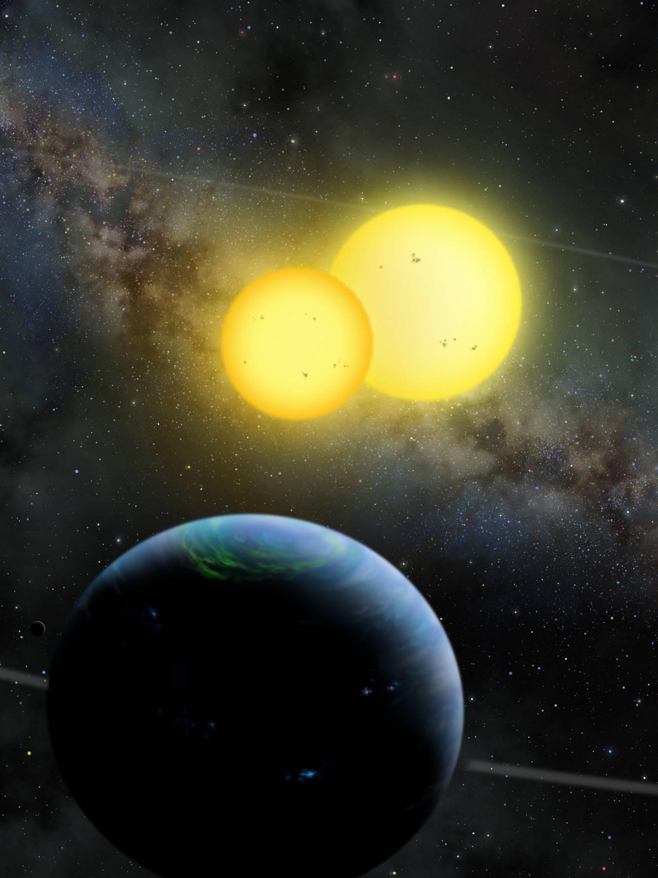 Ilustración de un planeta orbitando alrededor de un sistema con dos soles.