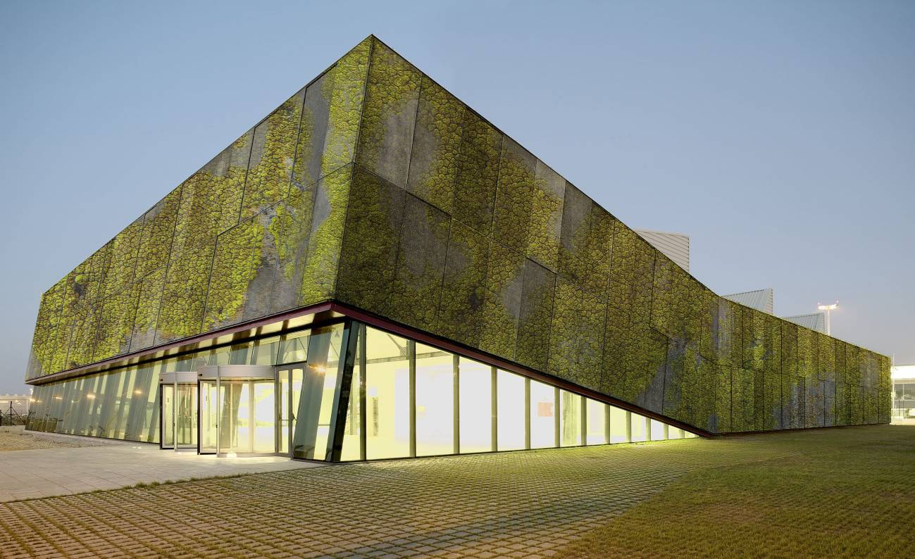 Simulación de fachada vegetal en el Centro cultural aeronáutico de el Prat de Llobregat. Imagen: UPC.