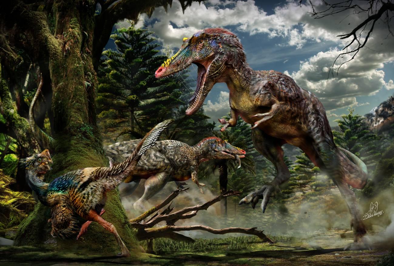 La imagen muestra a dos individuos Qianzhousaurus de caza. El que está en el primer plano persigue a un pequeño dinosaurio emplumado llamado Nankangia y el del fondo se come un lagarto. Los fósiles de estas tres especies tienen entre 72 y 66 millones de años. / Chuang Zhao.