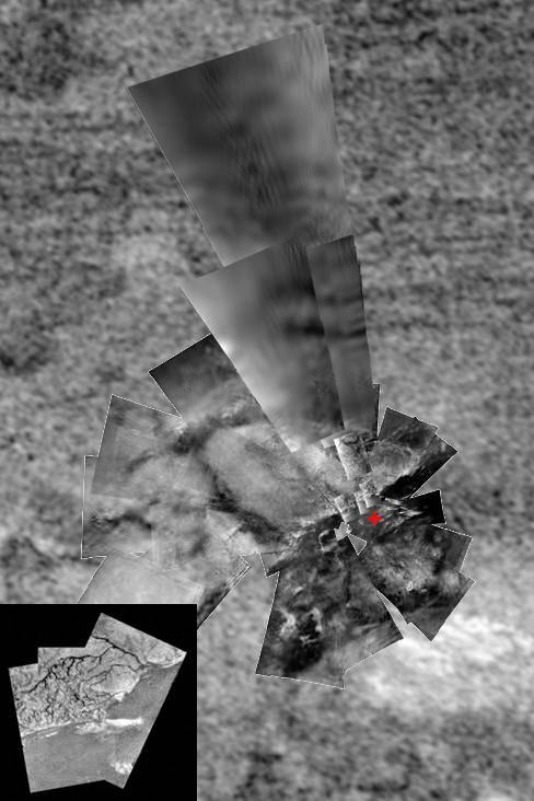 Mosaico del lugar donde la sonda Huygens alunizó en Titán. Imagen: ESA/NASA/JPL/Universidad de Arizona/USGS.