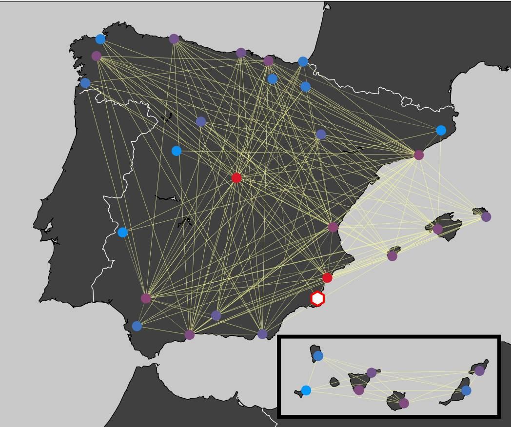 Un algoritmo matemático localiza los nodos más influyentes de una red
