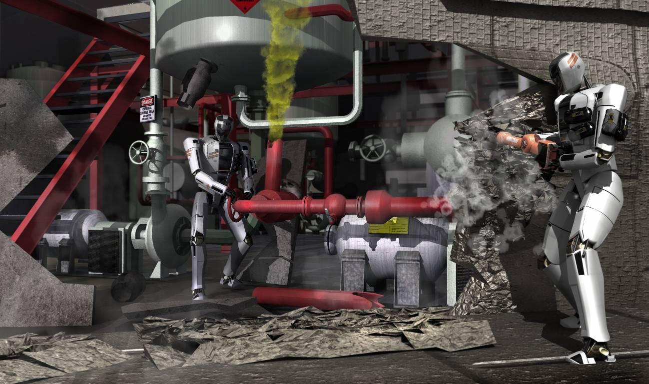 Concepción artística de robots que compiten en el Virtual Robotics Challenge. / DARPA