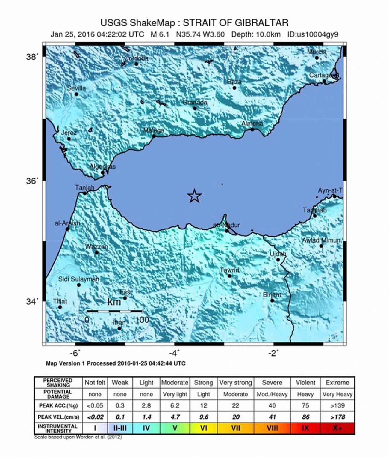 Localización del epicentro del terremoto./ Efe