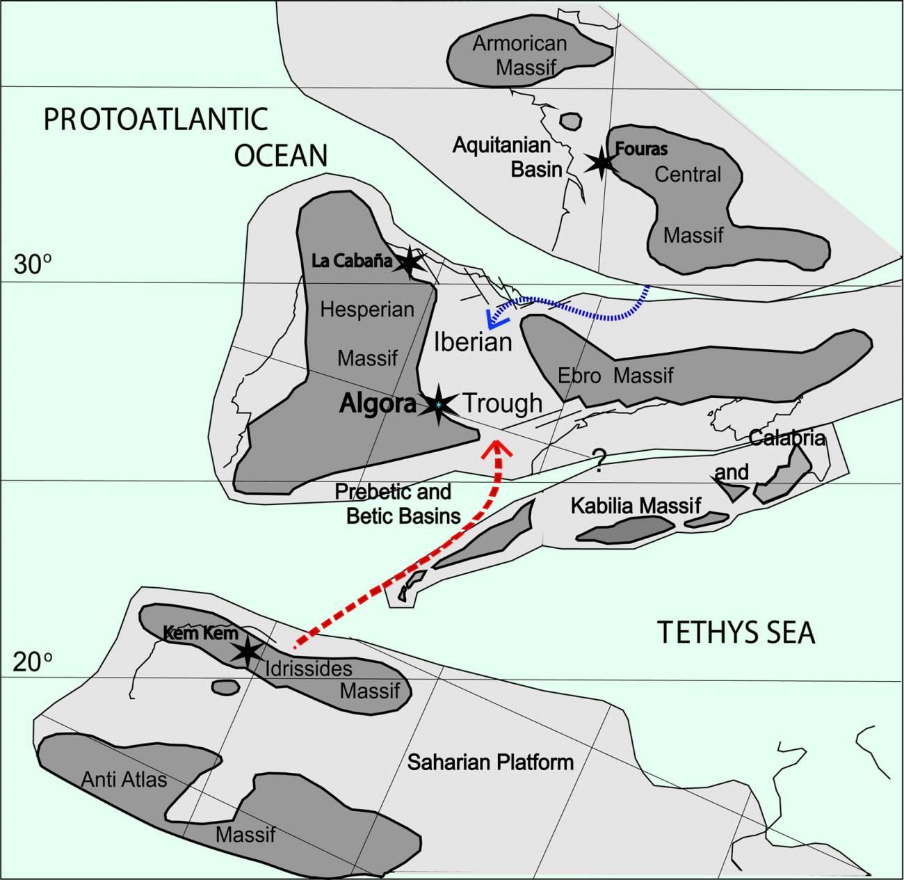 Mapa paleogeográfico con la situación del yacimiento durante el Cenomaniense.