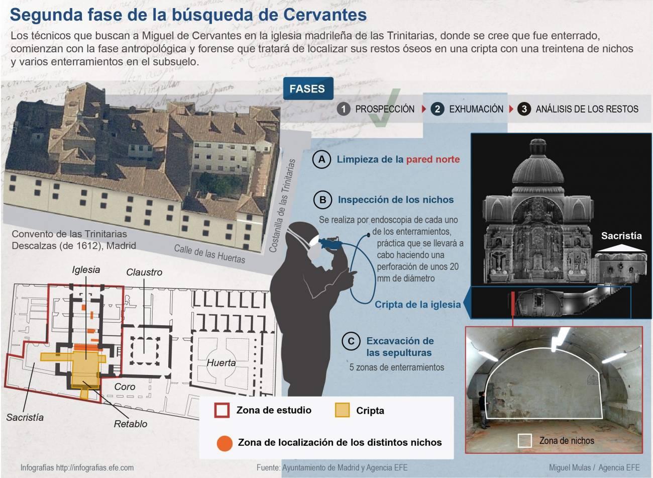 Infografía de las fases en la búsqueda de Cervantes. / Efe