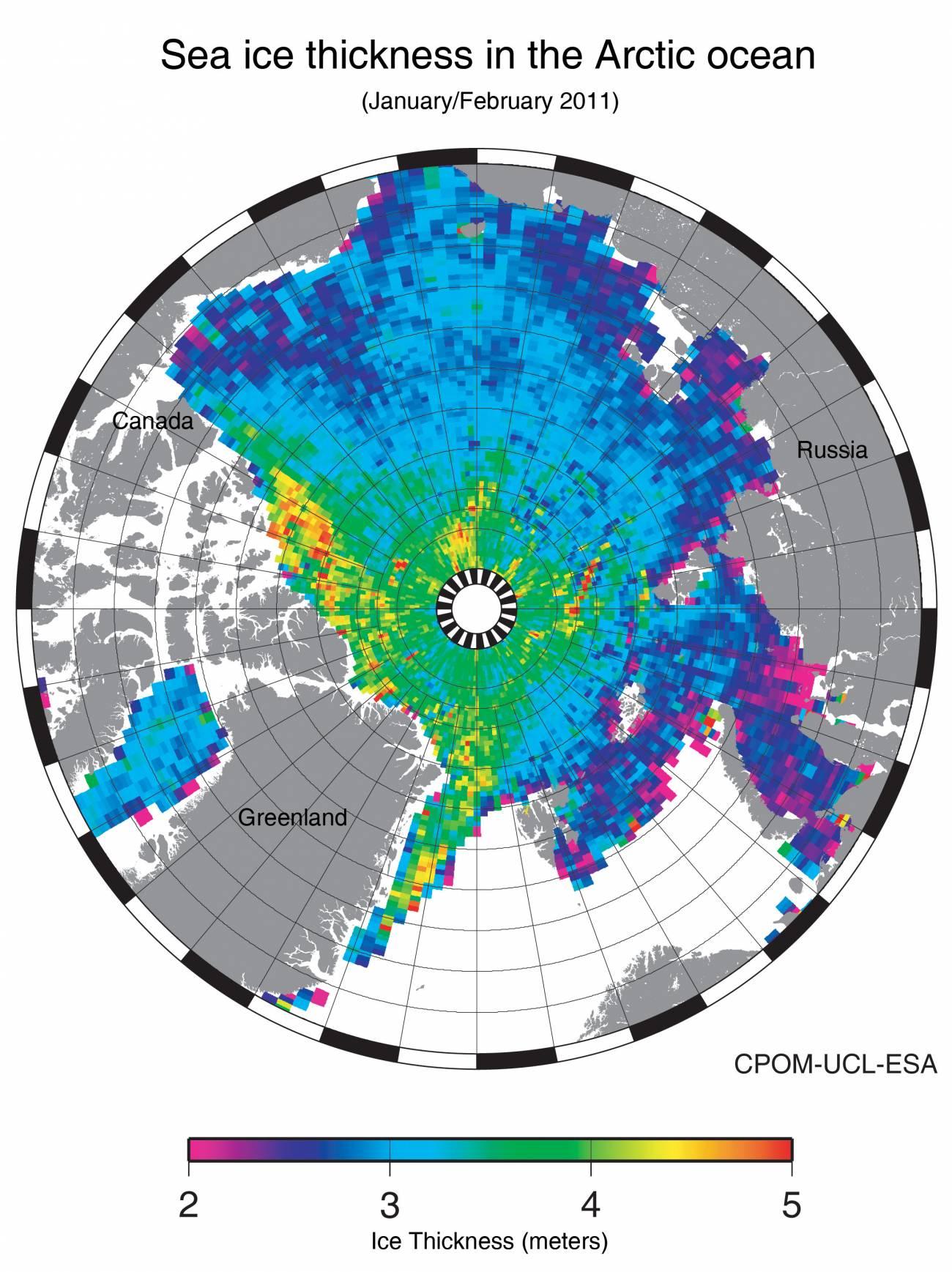 Primer mapa del espesor del hielo sobre el Ártico