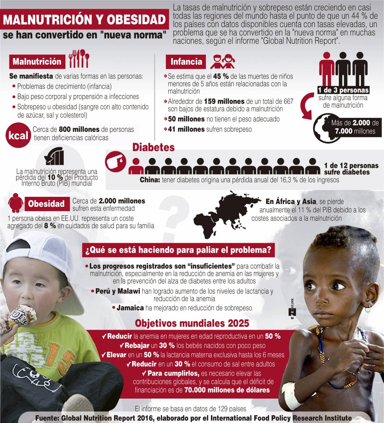 Infografía realizada a partir de los datos del Global Nutrition Report. /Efe