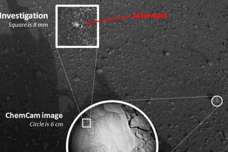 El lugar donde Curiosity ha pulverizado una roca en Marte