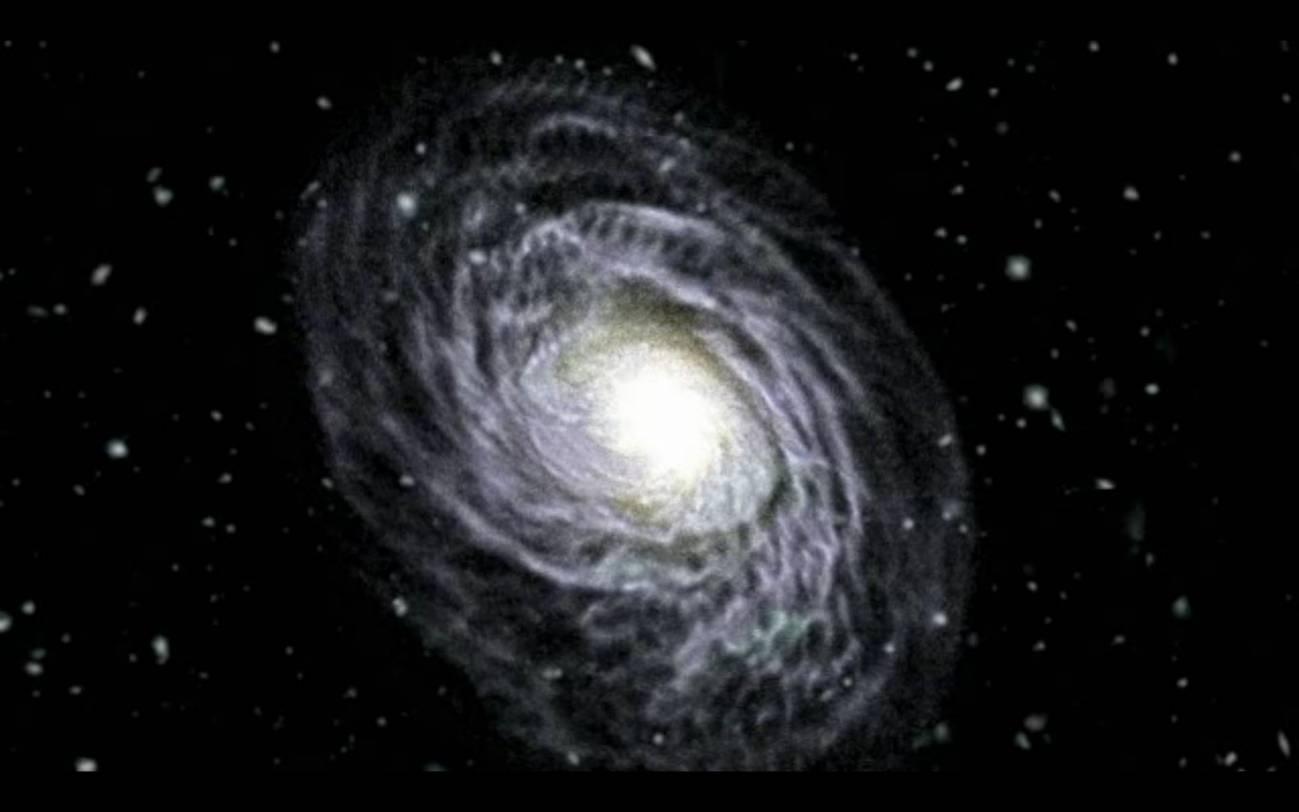 Impresión artística de la fusión entre dos galaxias.