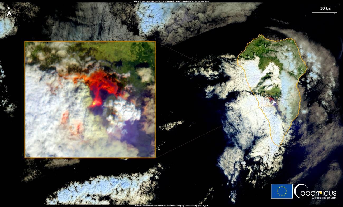 Imagen por satélite del despertar del volcán en La Palma