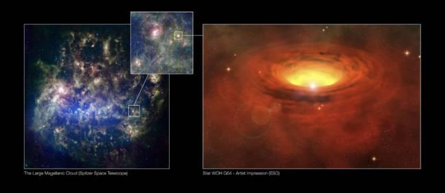 A la izquierda, la Gran Nube de Magallanes. A la derecha, la estrella WOH G64.