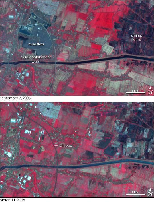 Imagen de satélite de la zona, antes y después de la erupción del volcán.