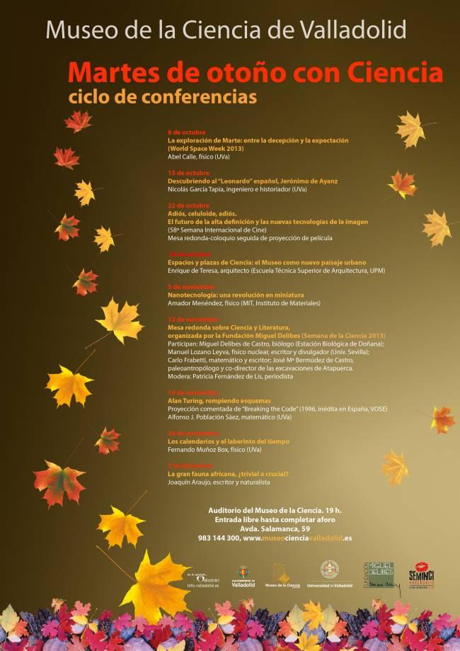 """Cartel ciclo de conferencias """"Martes de otoño con Ciencia"""""""