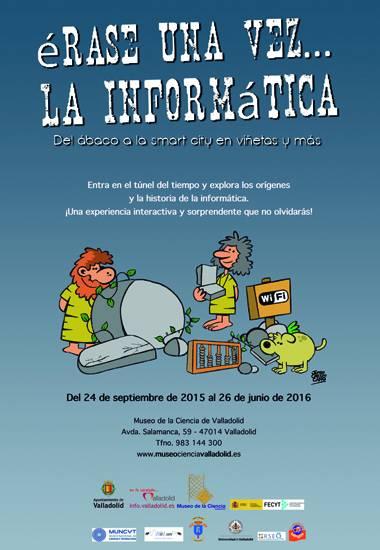 Cartel de la exposición 'Érase una vez... la informática. Del ábaco a la smart city en viñetas y más'