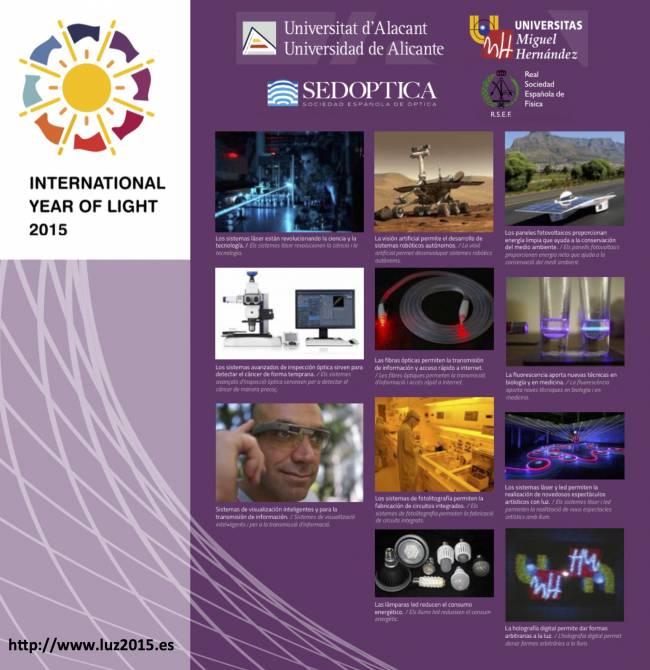 Uno de los paneles del Año Internacional de la Luz y las Tecnologías que se expone en la UA en febrero.