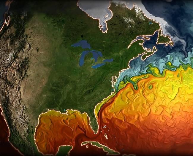Imagen de la temperatura de superficie del Atlántico Norte