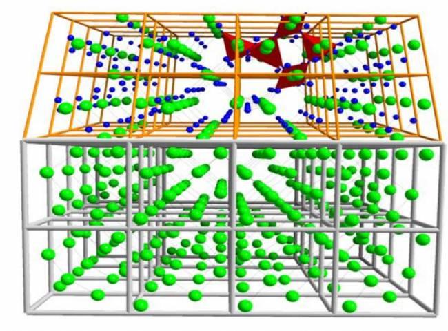 Esquema de capa de cristal de cuarzo sobre un sustrato semiconductor de silicio. / Science