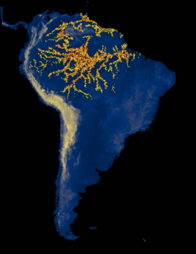 Simulación computacional de las expansiones de varias culturas arqueológicas en Sudamérica.