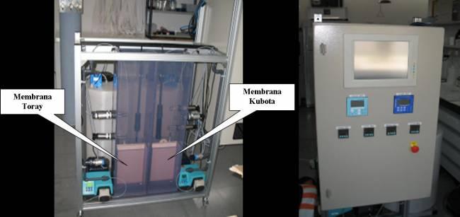 Imágenes del MBR (Membrane Bioreactors) y panel de control.