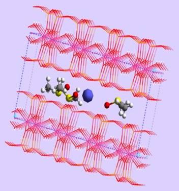Estructura cristalina de arcilla laminar con adsorbato en espacio interlaminar.