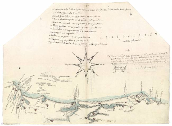 Mapa de Tlacotalpa del navegante sevillano Francisco Gali