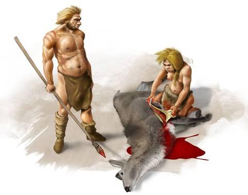 Pareja de neandertales
