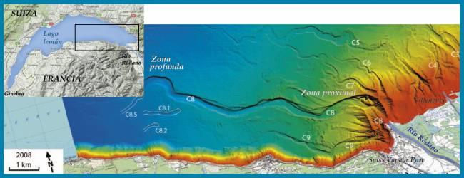 Batimetría, relieve submarino, del lago Leman, Suiza