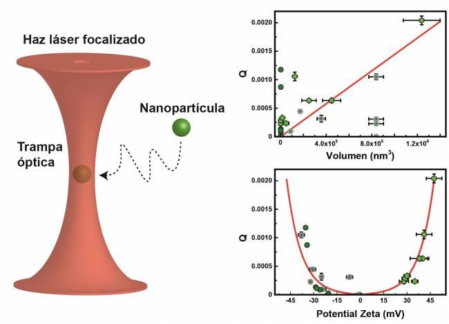 Representación esquemática de una partícula ópticamente atrapada. Representación gráfica de la fuerza óptica en función del volumen. Representación gráfica de fuerza óptica en función del potencial zeta.