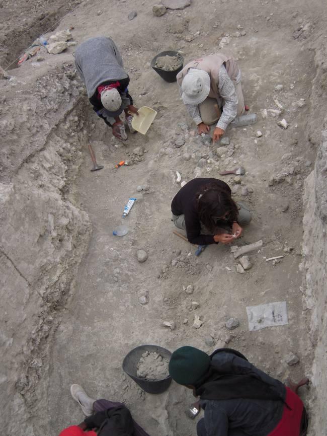 Trabajos de excavación en Olduvai